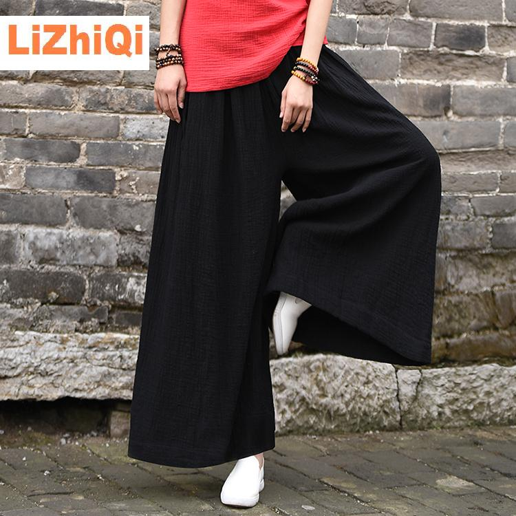 women culottes loose   wide   trousers cotton linen bottoms female   wide     leg     pants   black white Y025-358