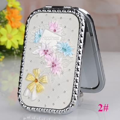 rectangle alloy mini portable collapsible rounded six flowers silver double-faced cosmetics/makeup mirror(orange packaging box)