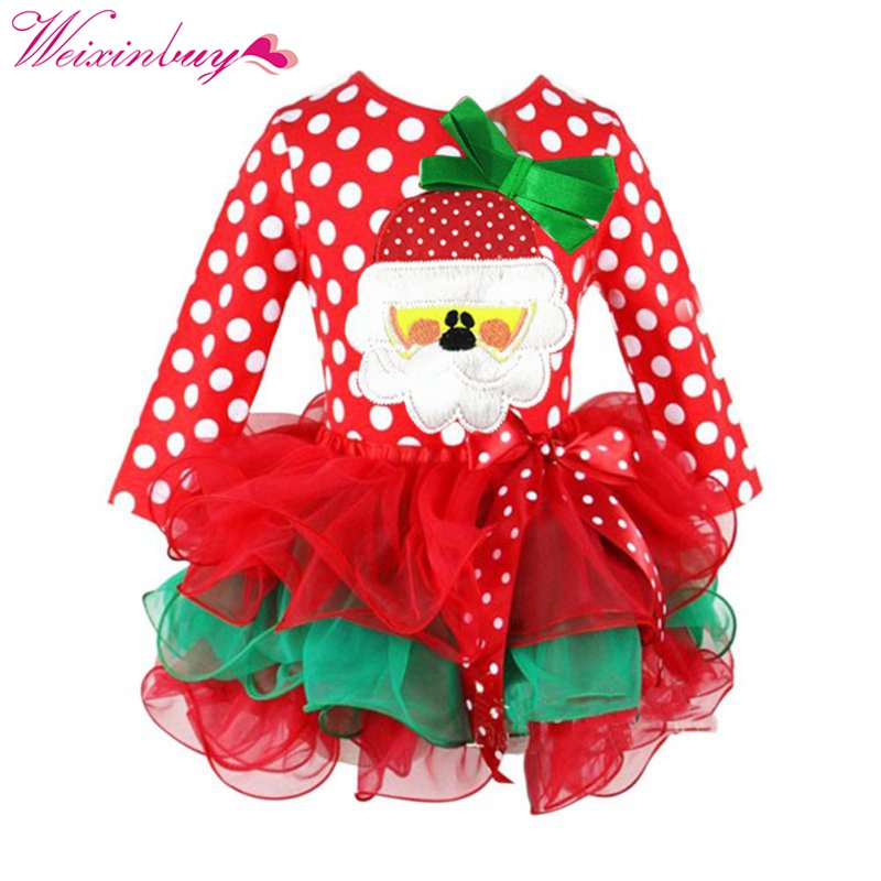 2018 Baby Cute Kids Girls Dress Christmas Style Costumes Party Clothing Long Sleeve Children Autumn Winter Princess Dresses 3 7years autumn winter baby girl clothes infant party princess tutu dress cute long sleeve kids dresses children clothing bc1307