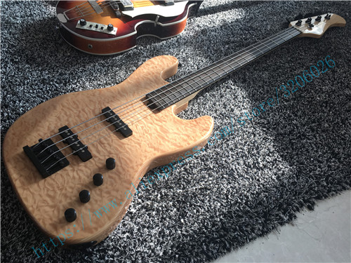 good quality 4 strings china bass guitar black hardware wilkinson tuners pickups flamed maple. Black Bedroom Furniture Sets. Home Design Ideas