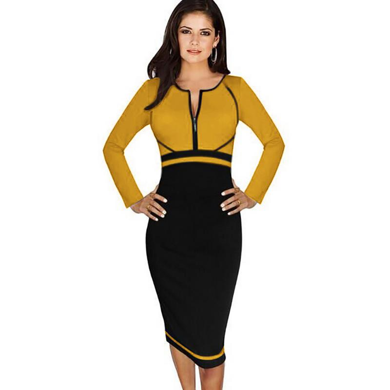 Plus Size Office Dress Lady Nice Vogue New Shelves Fashion O Collar Long  Sleeves Splicing Body Stretch Pencil And Calf Dress-in Dresses from Women s  ... 079d293df2e8
