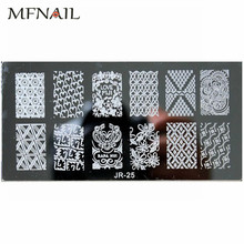 Lace Flowers Pattern 1pc Nail Stamping Plates Image Konad Stamping Printing Nail Art Template DIY Manicure Stamp Tools JR-25 недорого