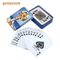 Новый высокое качество Жесть окно ПВХ баккара Texas Hold'em Poker Водонепроницаемый Пластик игральных карт Творческий узор подарок Настольная игра