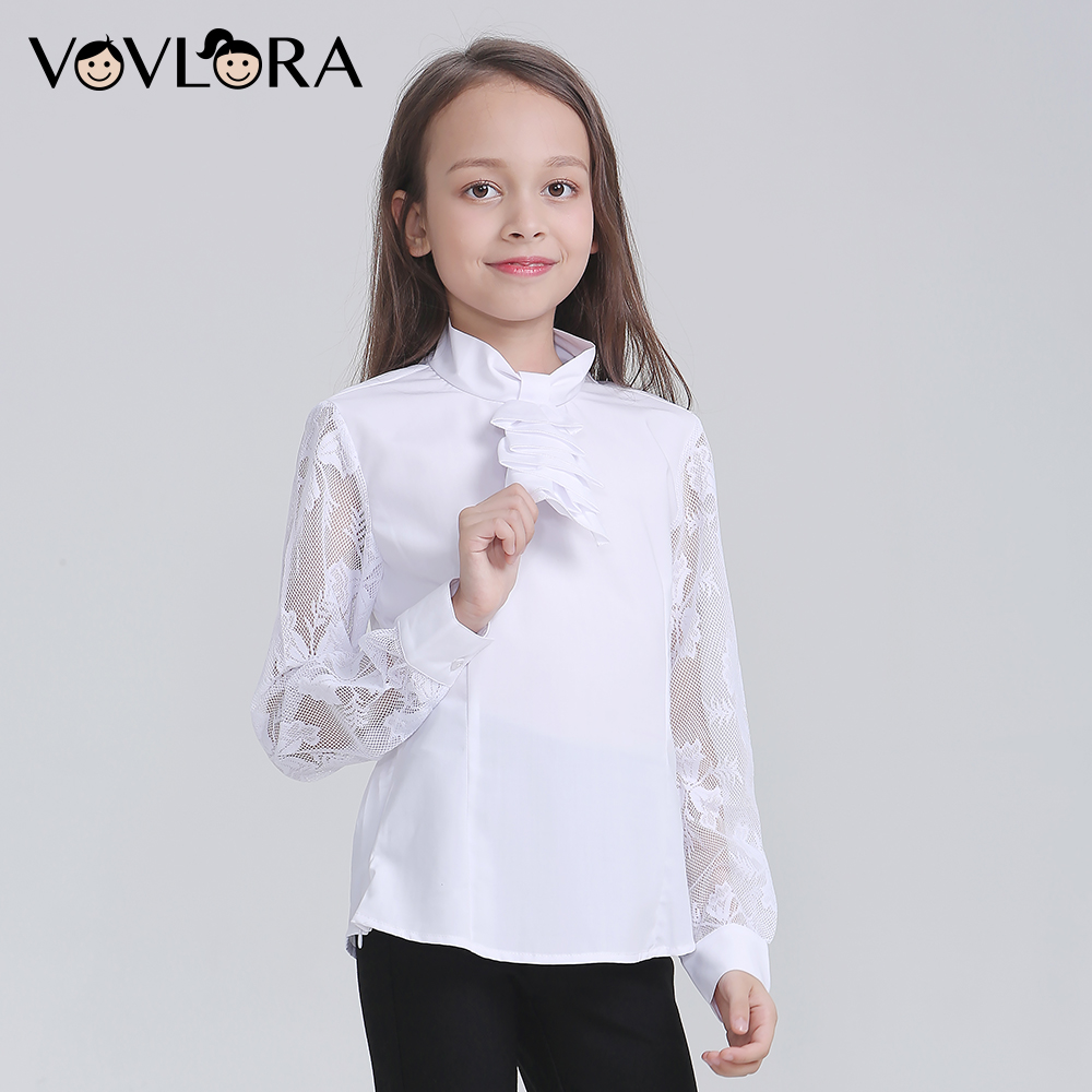 School Tops White Girls Blouse 2018 Woven Lace Long Sleeve Teenagers Blouse Fashion School Uniform Size 9 10 11 12 13 14 Years two tone lace insert blouse