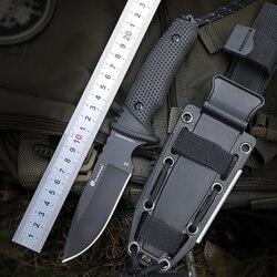HX al aire libre 58-60 HRC D2 hoja avanzado de caucho manejar caza fija cuchillo camping al aire libre de utilidad táctico cuchillos de supervivencia hardn