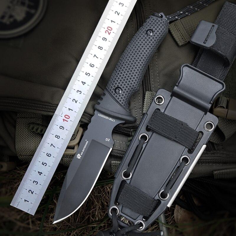 HX extérieur 58-60 HRC D2 lame avancée poignée en caoutchouc chasse couteau fixe plein air camping tactique utilitaire couteaux survie hardn