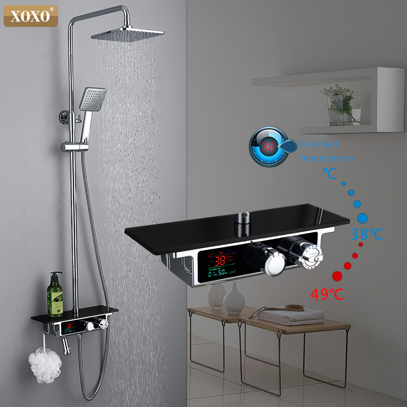 XOXO free shipping new luxury shower water dynamic LED digital display thermostatic shower faucet set 88030