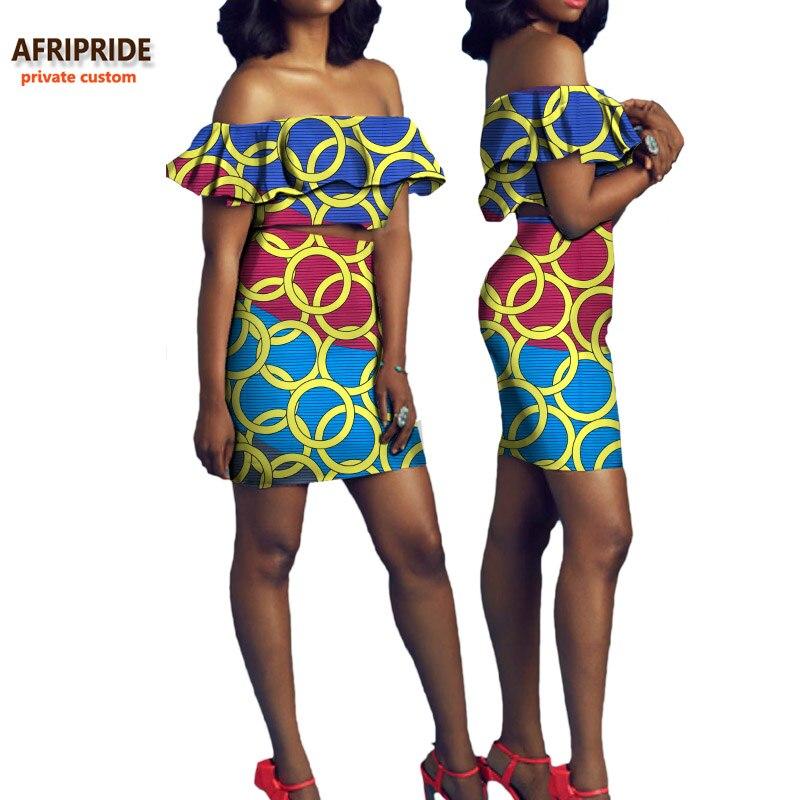 2018 vêtements d'été pour femmes AFRIPRIDE privé personnalisé sans bretelles top + mini jupe sexy dames costume grande taille batik coton A722627