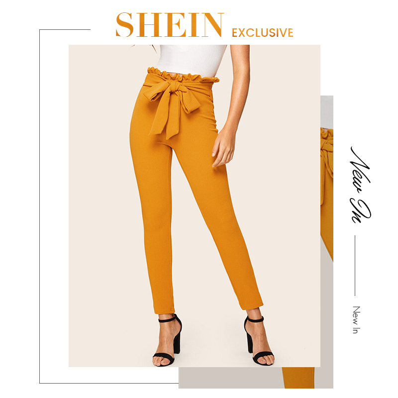 SHEIN Elegant Paperbag Waist Belted Detail Solid High Waist Pants Women Skinny Frill Trim Elastic Waist Spring Summer Pants 8