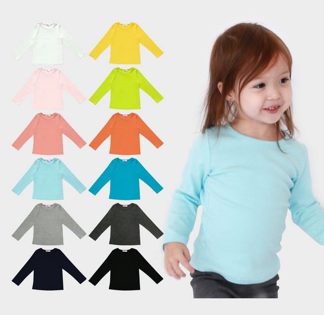 все цены на Children T-shirt For Girls Spring Autumn Long Sleeve Solid Candy Color Boys Girls T Shirt Tops Kids Clothes Boys Clothing