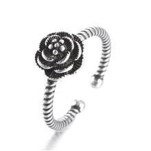 Hot sell fashion rose flower vintage style thai silver 925 sterling silver ladies`finger wedding rings jewelry women ring gift missita 100% 925 sterling silver rings for women love series heart wedding brand fashion jewelry anniversary gift hot sell