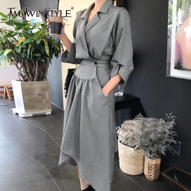 TWOTWINSTYLE Tunic Dress Female V Neck High Waist Ruched Pocket Split Asymmetrical Midi Dresses 2018 Spring Korean Clothing