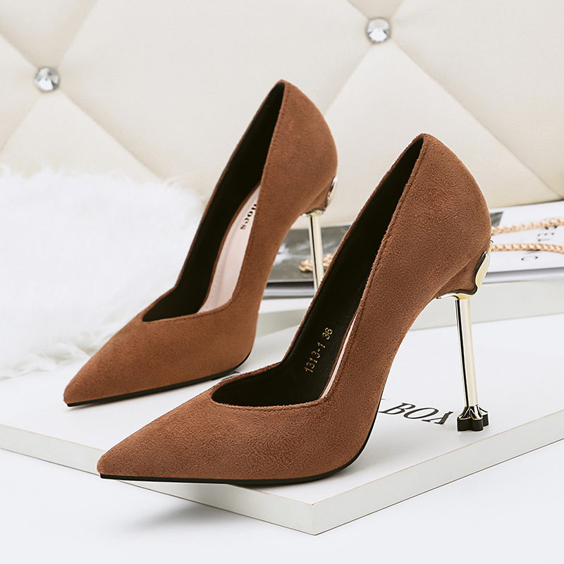 Sexy Shoes Women Pumps Clear Heels 2018 Spring Autumn Shallow Mouth Flock Office Shoes Woman High Heels Party Shoe 4