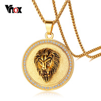 Vnox Lion Head Charms Necklace Rock Punk Style Men Retro Pendant Necklace Jewelry Gold Color Stainless