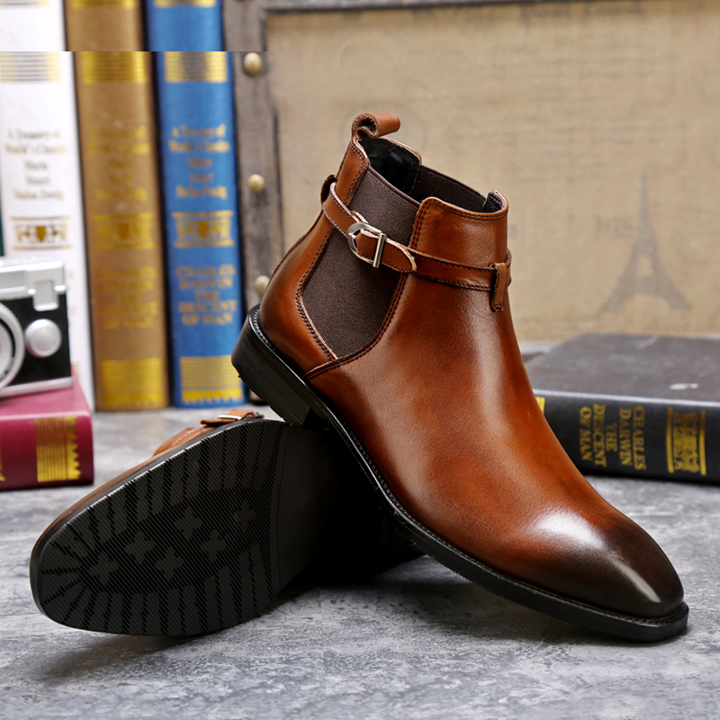 Winter Men's Genuine Leather Boots Leather Boots Business Chelsea Men's Boots Warm High Shoes Locomotive Boots boots bagatt boots