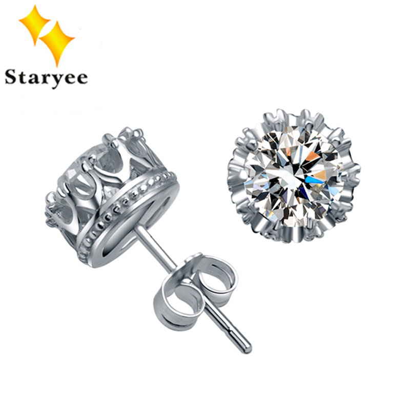 Luxury Pure 18K Solid White Gold Moissanite Stud Earrings For Women Wedding Round Brilliant Certified 2CT VVS G H Birthday Gift 3000lm mini rechargeable led headlamp body motion sensor led bicycle head light lamp outdoor camping flashlight with usb
