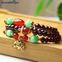 Wholesale Natural Garnet Bracelets Wine Red Bead With Elephant Pendant Bracelet Lucky For Women Girl Crystal Multilayer Jewelry