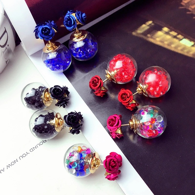 1Pair Fashion Cute Women Girls Elegant Exquisite Ear Stud Zircon Crystal Three Rose Flowers glass ball Double Sides Earrings