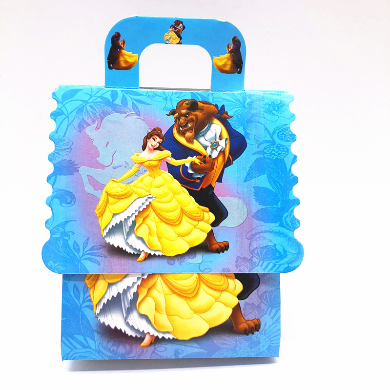 New 6pcs /lot Children's Birthday Party Beauty And The Beast Theme Gift Box Candy Bag Party Decoration