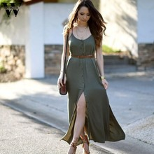 a1c59b7d6f Womail vestido regular vestidos hermosos vestidos baratos del botón sólido  Partido Boho Beach Maxi Dec28(