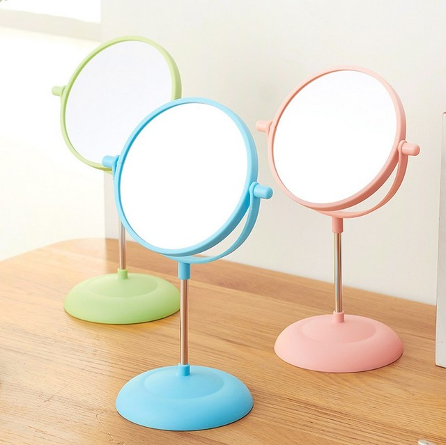 Makeup Mirror Girls 2Side Cosmetic Mirror Rotating Stand Table Mirrors  Ladies Plastic Dresser Mirrors Women