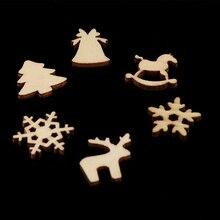 100 sztuk małych drewnianych ozdób świątecznych