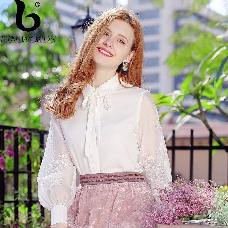FINEWORDS 2018 Spring blusas Vintage Embroidery White Chiffon Blouse Women Elegant Korean Causal Tops Business Plus Size Shirt