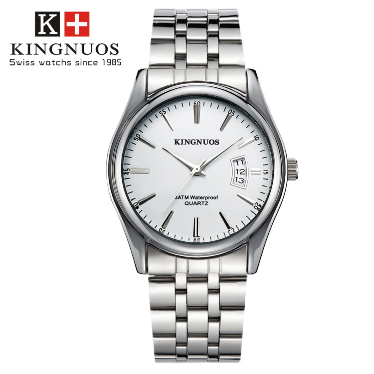Kingnuos Luxury Brand Stainless Steel Silver Analog Display s