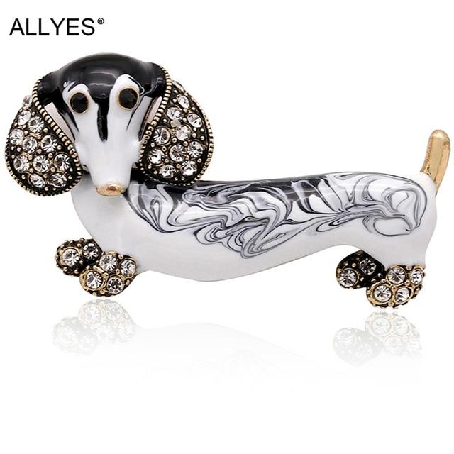 ALLYES Cute Dachshund Dog Brooches For Women Fashion Metal Crystal Enamel Animal Brooch Jewelry