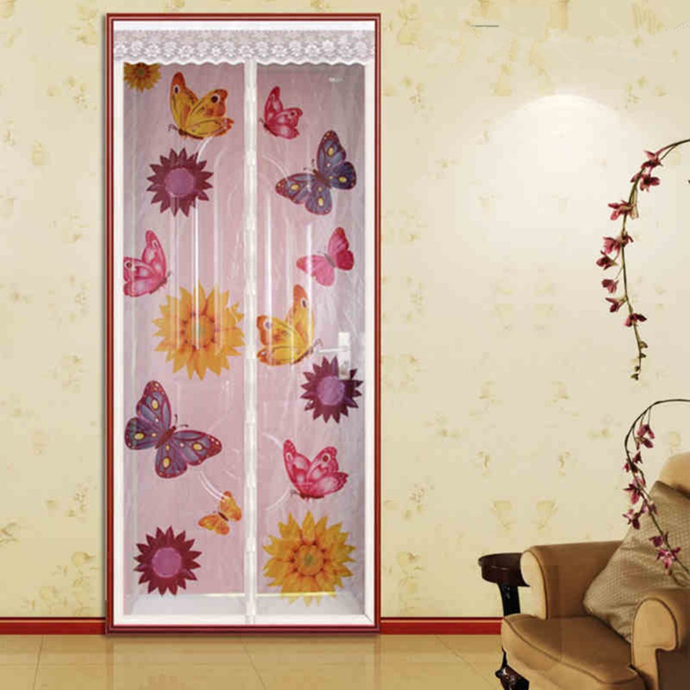 FUYA New Magnetic Door Screen Mesh Sheer Door Curtain Anti-Mosquito Net Insect Magic Mosquito Tenda Farfalla Con Girasoli