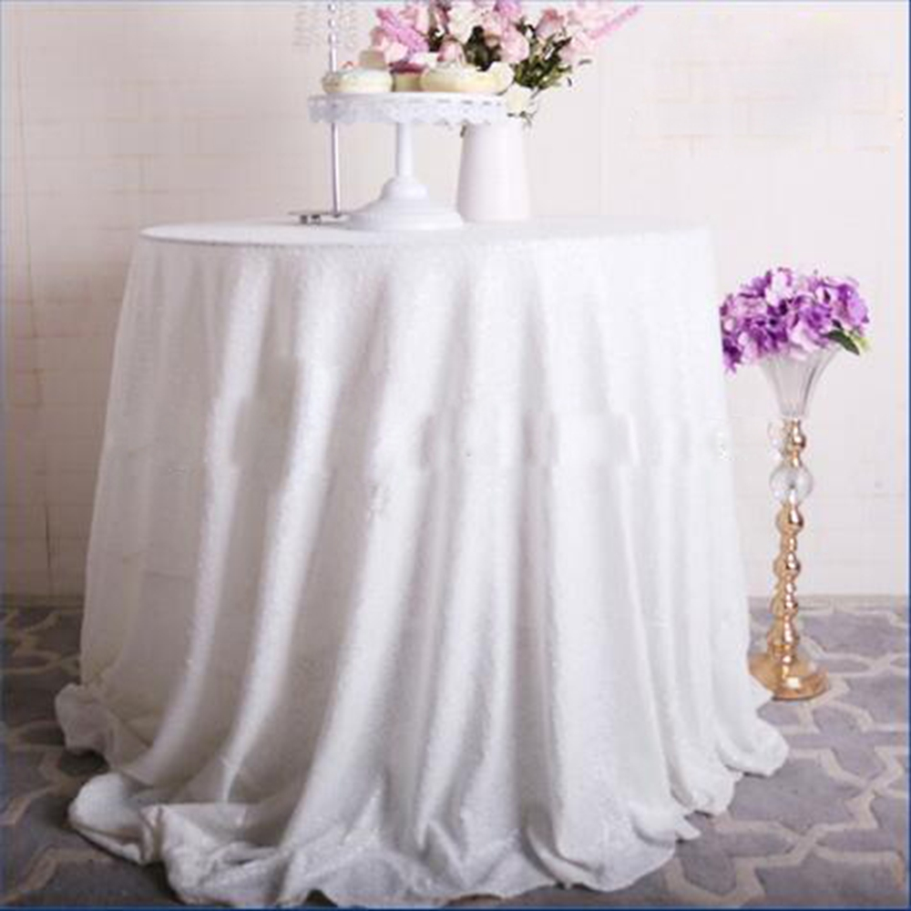 96 inch round tablecloth - 96 Inches Round Wedding Tablecloth Sparkly White Sequin Glamorous Tablecloth Wedding Sequin Tablecloth Cake Tablecloth