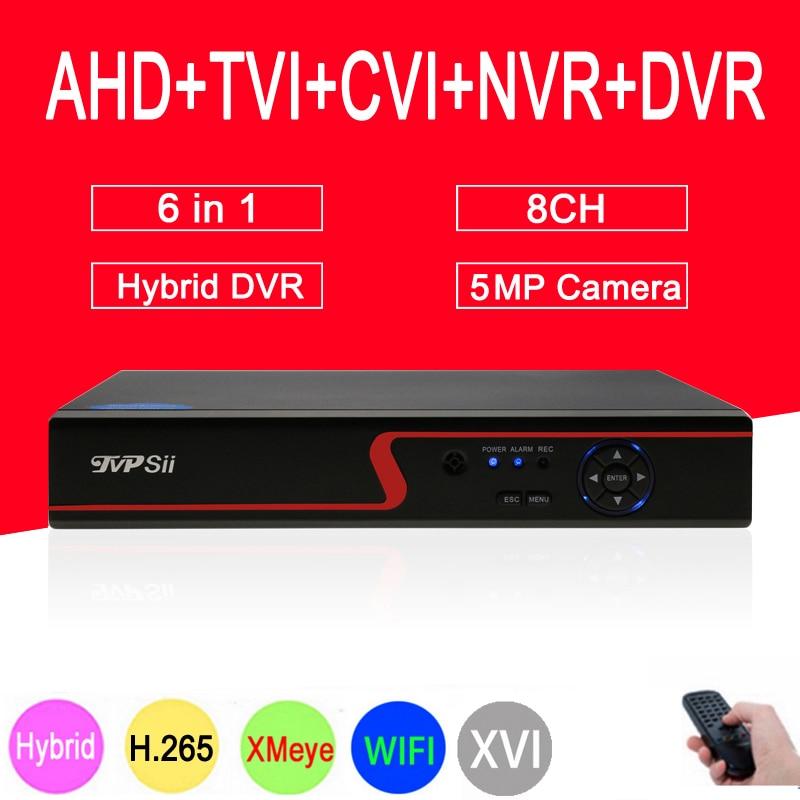 Painel vermelho Câmera de Vigilância Hi3521D 5MP XMeye 8CH 8 Canal 6 em 1 WI-FI Coaxial Híbrido NVR CVI TVI AHD CCTV DVR Freeshipping