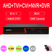Red Panel 5MP Surveillance Camera Hi3521D XMeye 8CH 8 Channel H.265+ 6 in 1 WIFI Coaxial Hybrid NVR TVI CVI AHD CCTV DVR