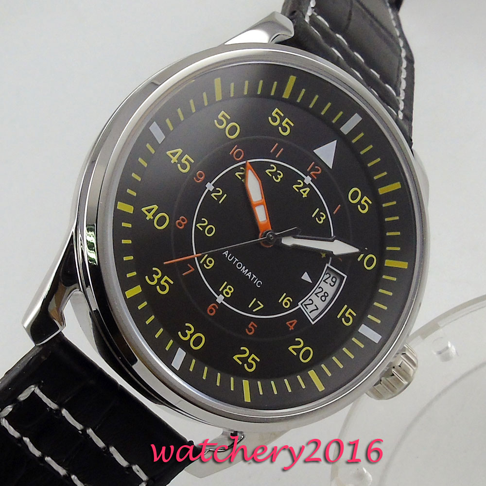 43mm Debert black Dial Date adjust Yellow Markers Stainless Steel Case Automatic Movement Men's Watch цена и фото