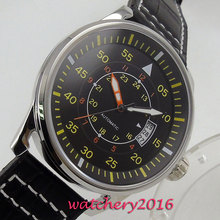 цена 43mm Debert black dial date adjust yellow markers stainless steel case Automatic movement Men's Watch онлайн в 2017 году