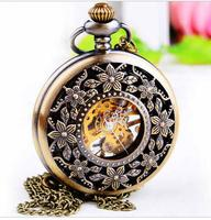 Vintage Bronze antiques flowers Hollow manual mechanical Black face men and woman Necklace pocket watches gift