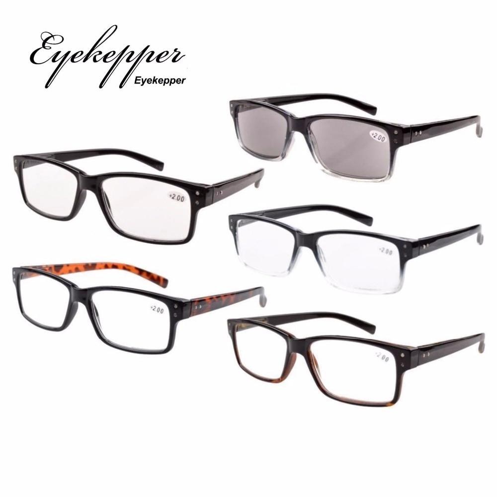 R032 Eyekepper 5-pack Homens Óculos De Leitura Dobradiças de Mola Do  Vintage Inclui Leitores Sol + 0.00 --- + 4.00 3ce5ee01b7