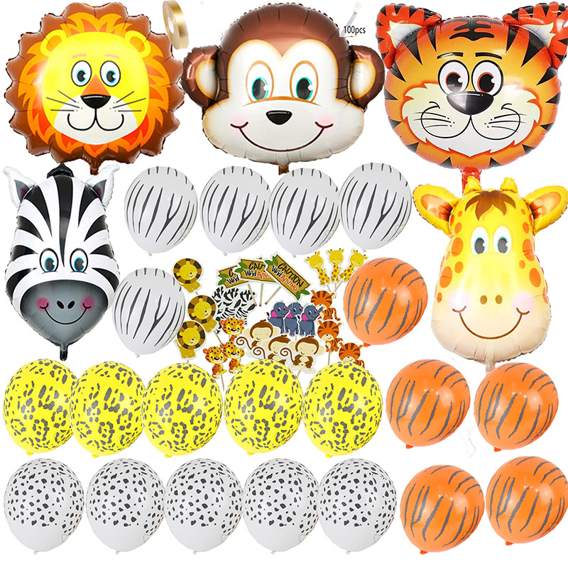 51pcs Baby Shower Safari Party/Birthday Balloon Foil Birthday Party Decoration Kids/Adult Jungle Huge Animal Head