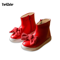 2018 Spring Autumn Children Bowknot Boots Leather Little Girl Boots For Rain Casual Plush Rubber PU