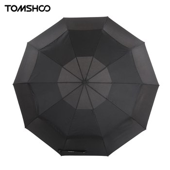 TOMSHOO Top Quality Umbrella Rain Windproof Double Canopy Automatic Auto Open Close Umbrella Outdoor Travel Golf Umbrella 10 Rib