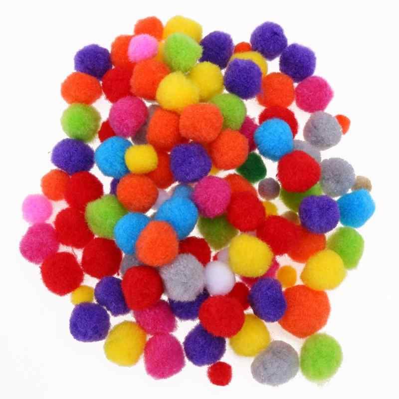 100-500 pièces boules de Pom de couleur mélangée moelleuse de noël pompon doux Pom boules Furball pour jouets d'enfants à monter soi-même décoration de noël à la maison
