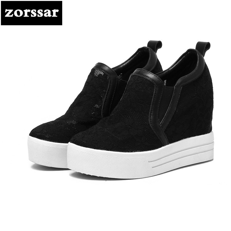 {Zorssar} 2018 NEW Genuine leather Lace ladies casual shoes Slip-on womens increased internal High heels Platform pumps nayiduyun women genuine leather wedge high heel pumps platform creepers round toe slip on casual shoes boots wedge sneakers