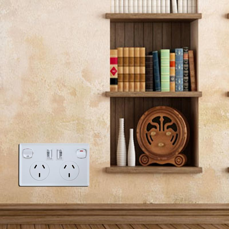 Electric Double USB Australian AU Plug Electrical Wall Socket Home Power Point Supply Plate 2 Switch Home Improvement Tools
