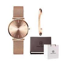 Reloj de acero inoxidable de alta calidad para mujer pulsera cajas relojes conjunto de reloj de cuarzo para mujer para regalo de San Valentín