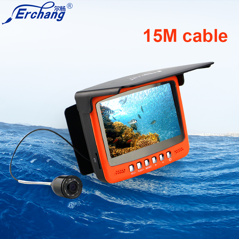Erchang Fish Finder Underwater Ice Video Fishfinder Fishing Camera IR Night Vision 4.3 inch monitor camera kit HD 1000TVL 30m underwater fish cameras finder sea real time live underwater ice video fishfinder fishing camera ir night vision 4 3 screen