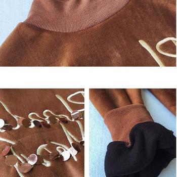 Top Dorado De Talla Grande | Camiseta De Invierno Para Mujer 2018 Nueva Moda Media Cuello Alto Engrosada Camiseta De Terciopelo Dorado Talla Grande 4XL Suelta Casual Tops Cortos Para Mujer