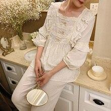 נשים של לוליטה תחרה פיג מה סטים. חמוד ראפלס חולצות + ארוך מכנסיים. בציר גבירותיי כותנה פיג סט. ויקטוריאני הלבשת Loungewear