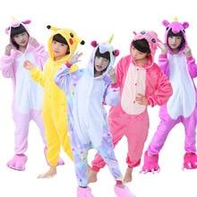 Детские пижамы фланель животных Единорог Пикачу стежка костюм косплэй зима милый мультфильм детская одежда для сна детские пижамы комбинезоны