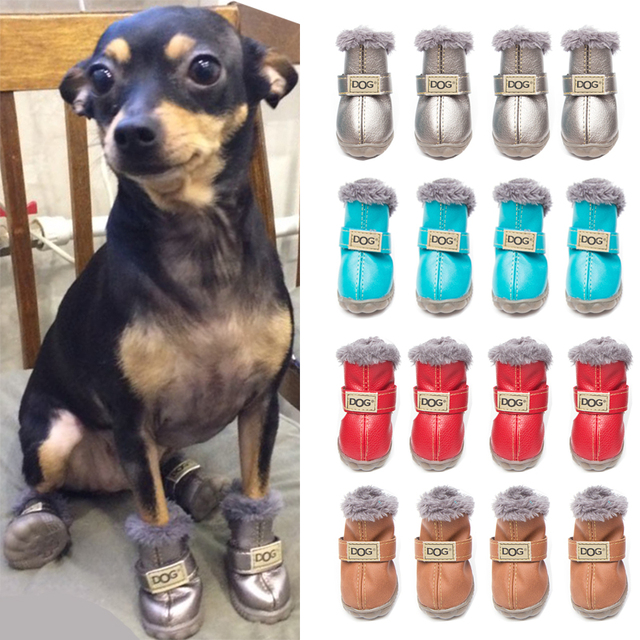 4 Pcs set Fashion Dogs Winter Snow Boots Leather Dog Shoes For Chihuahua  Waterproof Anti Slip Pet Shoes For Small Dogs - 5 Sizes 7d9e9cb2958c
