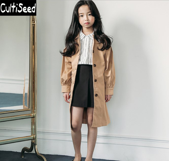 Girls Autumn Trench Coat Children Single Breasted Long Trench Outerwear with Lantern Sleeve Kids Casual Solid Color Trench Coat stylish long sleeves pure color side slit pockets women s trench coat